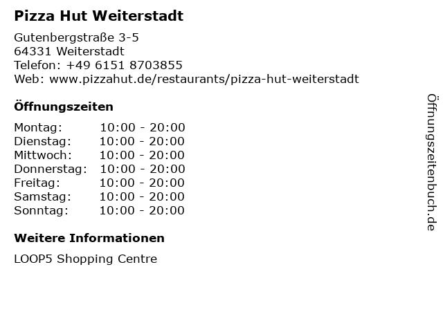 Pizza Hut Weiterstadt in Weiterstadt: Adresse und Öffnungszeiten