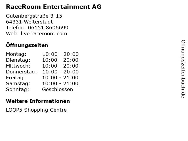 RaceRoom Entertainment AG in Weiterstadt: Adresse und Öffnungszeiten