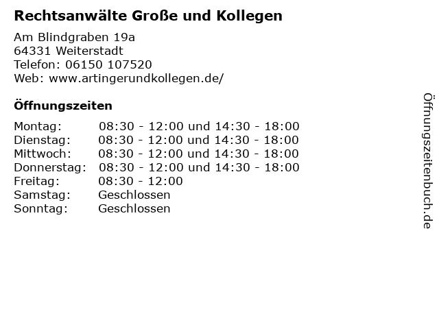 Rechtsanwälte Große und Kollegen in Weiterstadt: Adresse und Öffnungszeiten