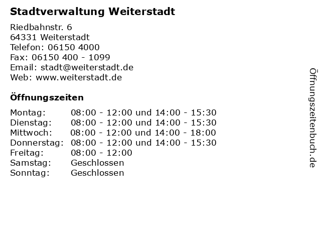Stadtverwaltung Weiterstadt in Weiterstadt: Adresse und Öffnungszeiten