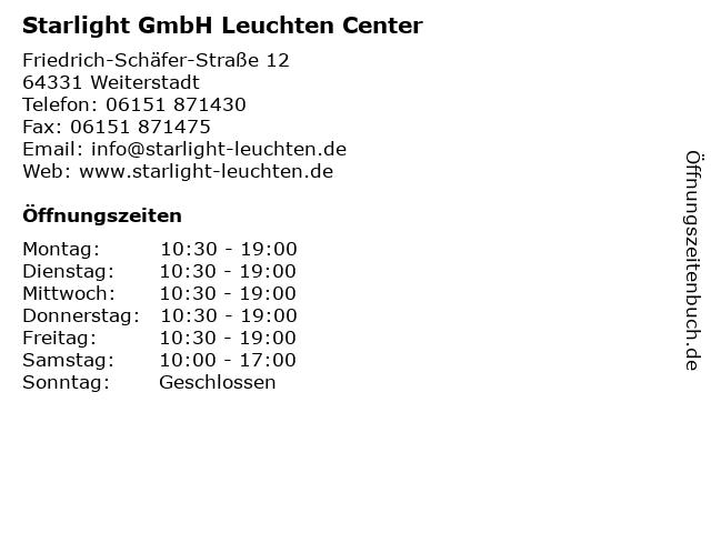 Starlight GmbH Leuchten Center in Weiterstadt: Adresse und Öffnungszeiten