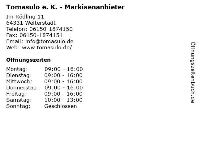 Tomasulo e. K. - Markisenanbieter in Weiterstadt: Adresse und Öffnungszeiten