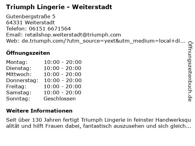 Triumph Shop in Weiterstadt: Adresse und Öffnungszeiten
