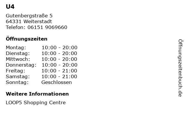 U4 in Weiterstadt: Adresse und Öffnungszeiten