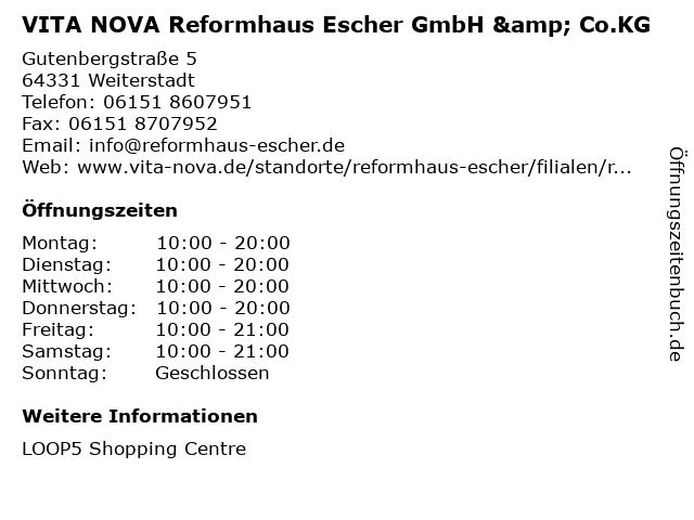 VITA NOVA Reformhaus Escher GmbH & Co.KG in Weiterstadt: Adresse und Öffnungszeiten