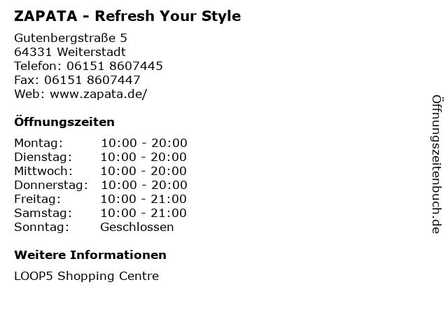 ZAPATA - Refresh Your Style in Weiterstadt: Adresse und Öffnungszeiten
