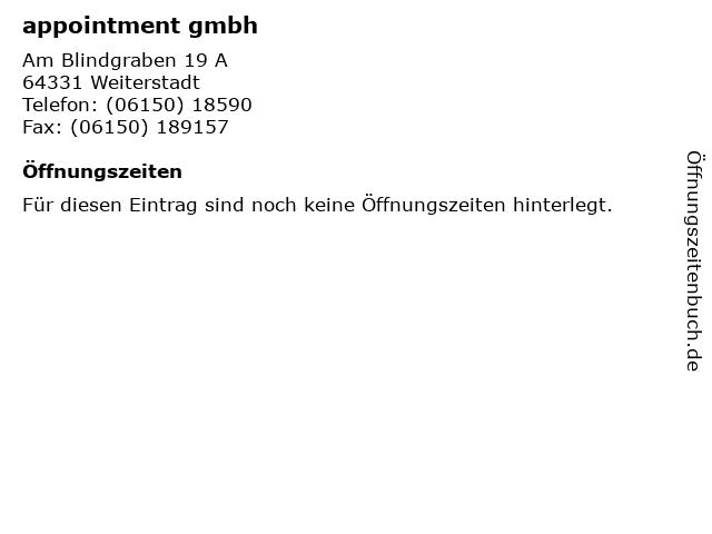 appointment gmbh in Weiterstadt: Adresse und Öffnungszeiten