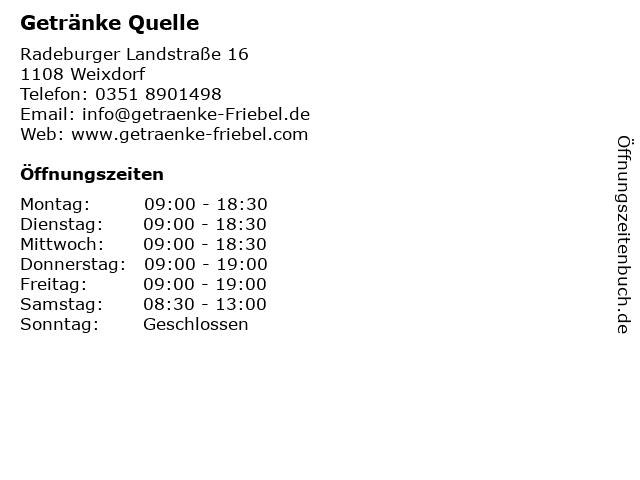 Getränke Quelle in Weixdorf: Adresse und Öffnungszeiten
