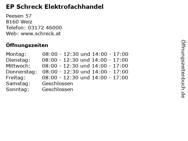 EP Schreck Elektrofachhandel Erich Schreck in Weiz: Adresse und Öffnungszeiten
