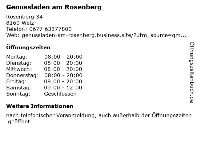 Genussladen am Rosenberg in Weiz: Adresse und Öffnungszeiten