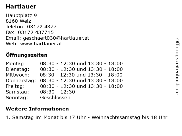 Hartlauer in Weiz: Adresse und Öffnungszeiten