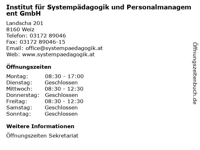 Institut für Systempädagogik und Personalmanagement GmbH in Weiz: Adresse und Öffnungszeiten