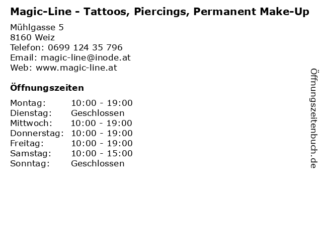 Magic-Line - Tattoos, Piercings, Permanent Make-Up in Weiz: Adresse und Öffnungszeiten