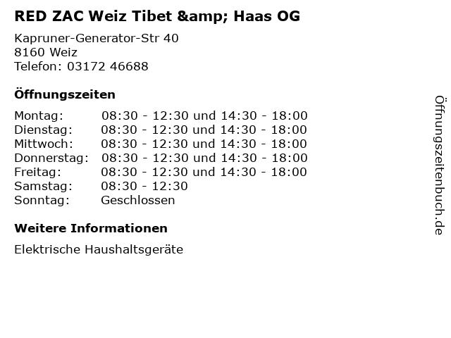 RED ZAC Weiz Tibet & Haas OG in Weiz: Adresse und Öffnungszeiten