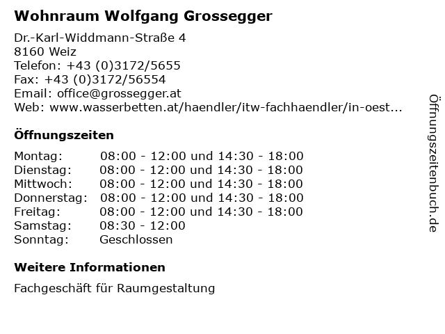 ᐅ öffnungszeiten Wohnraum Wolfgang Grossegger Dr Karl Widdmann