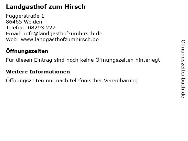 Landgasthof zum Hirsch in Welden: Adresse und Öffnungszeiten