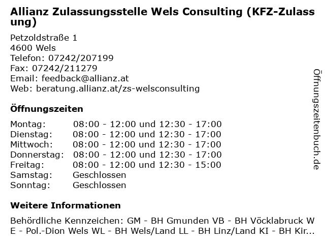 Allianz Zulassungsstelle Wels Consulting (KFZ-Zulassung) in Wels: Adresse und Öffnungszeiten