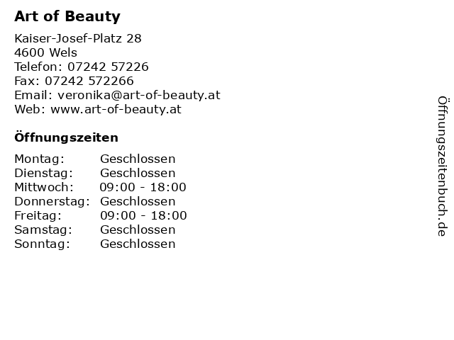 Art of Beauty in Wels: Adresse und Öffnungszeiten