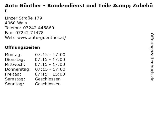 Auto Günther - Kundendienst und Teile & Zubehör in Wels: Adresse und Öffnungszeiten