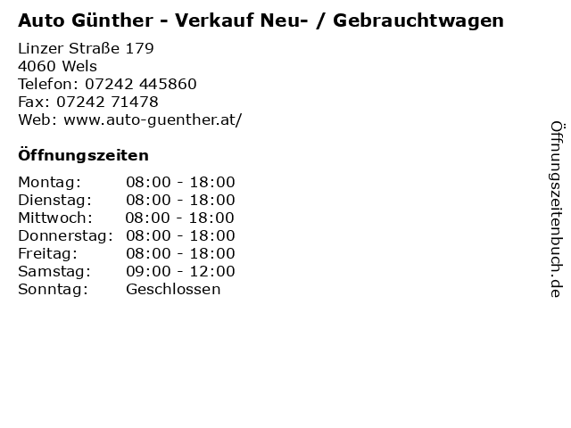 Auto Günther - Verkauf Neu- / Gebrauchtwagen in Wels: Adresse und Öffnungszeiten