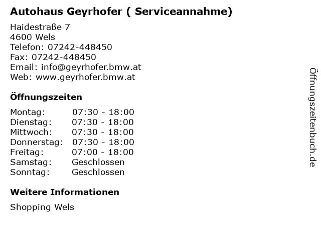 Autohaus Geyrhofer ( Serviceannahme) in Wels: Adresse und Öffnungszeiten