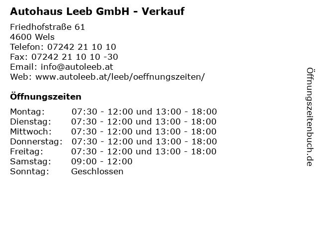 Autohaus Leeb GmbH - Verkauf in Wels: Adresse und Öffnungszeiten