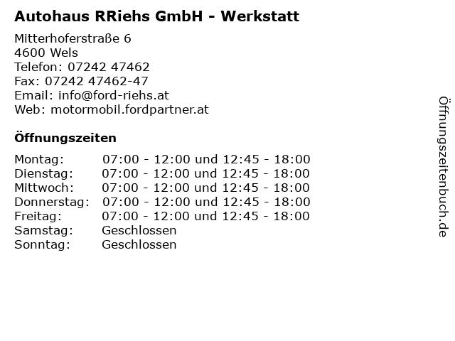 Autohaus RRiehs GmbH - Werkstatt in Wels: Adresse und Öffnungszeiten
