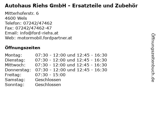 Autohaus Riehs GmbH - Ersatzteile und Zubehör in Wels: Adresse und Öffnungszeiten