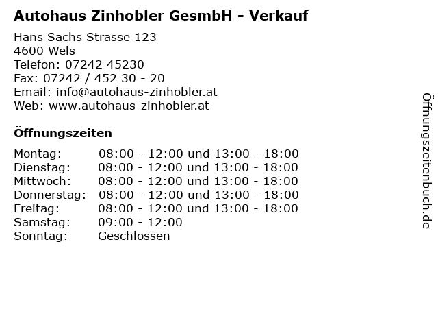 Autohaus Zinhobler GesmbH - Verkauf in Wels: Adresse und Öffnungszeiten