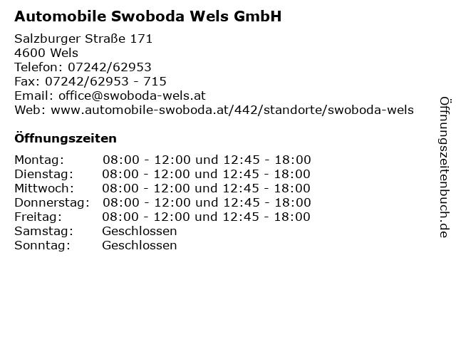 Automobile Swoboda Wels GmbH in Wels: Adresse und Öffnungszeiten