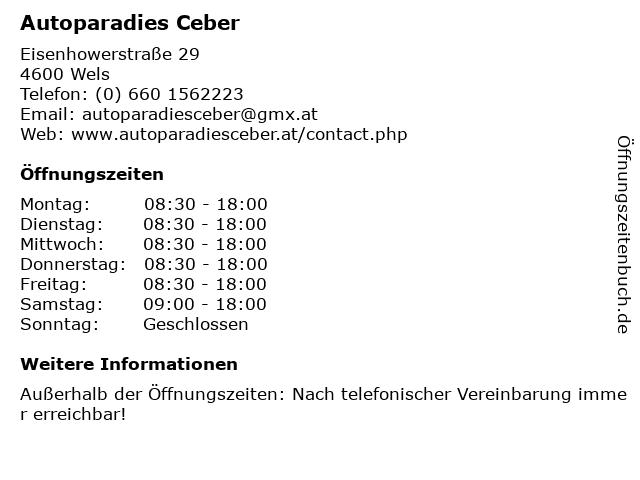 Autoparadies Ceber in Wels: Adresse und Öffnungszeiten