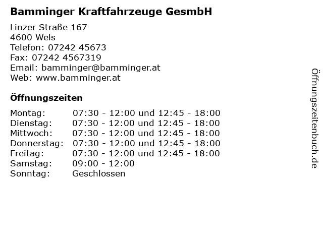 Bamminger Kraftfahrzeuge GesmbH in Wels: Adresse und Öffnungszeiten