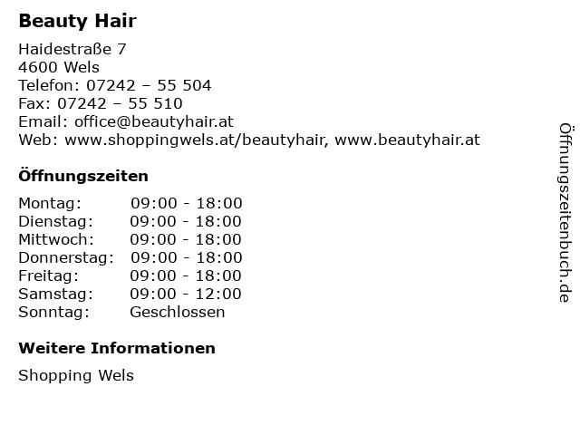 Beauty Hair in Wels: Adresse und Öffnungszeiten