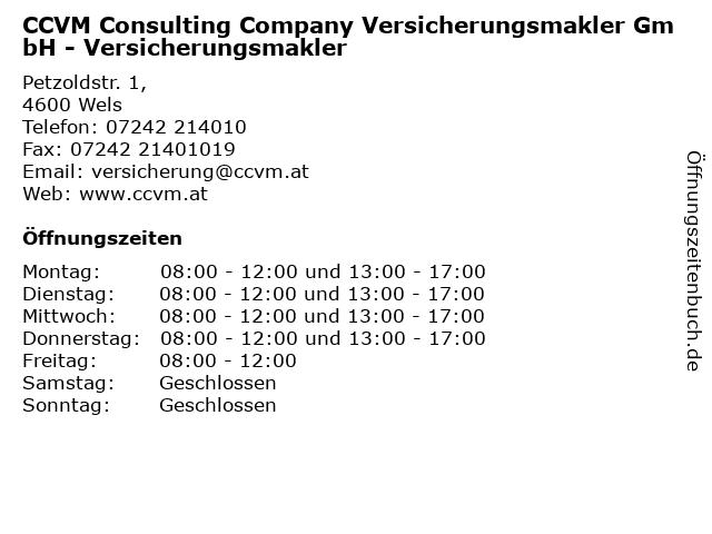CCVM Consulting Company Versicherungsmakler GmbH - Versicherungsmakler in Wels: Adresse und Öffnungszeiten