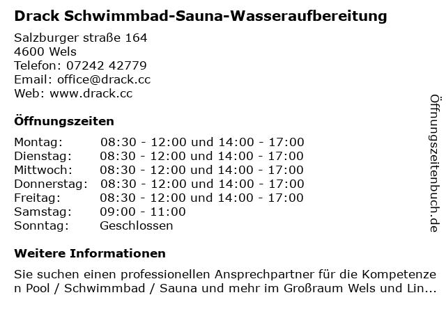 Drack Schwimmbad-Sauna-Wasseraufbereitung in Wels: Adresse und Öffnungszeiten