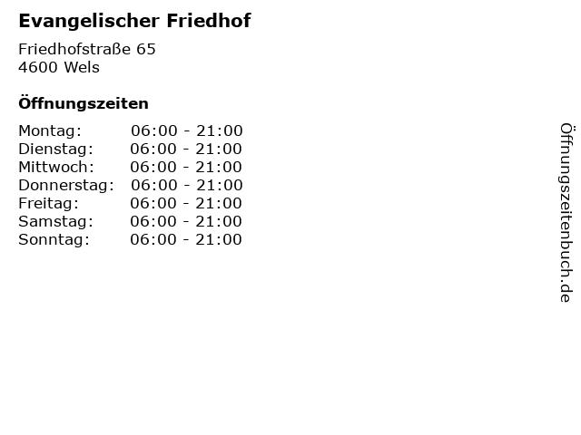 Evangelischer Friedhof in Wels: Adresse und Öffnungszeiten