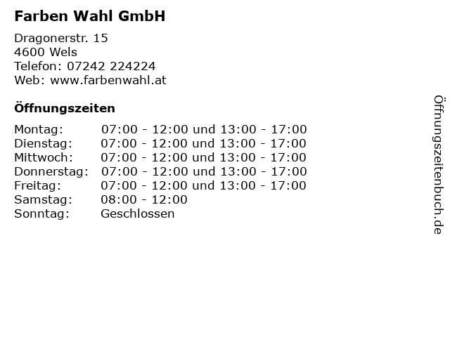 Farben Wahl GmbH in Wels: Adresse und Öffnungszeiten