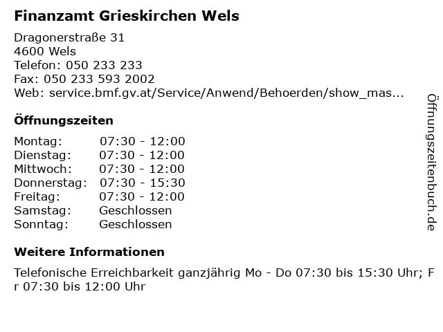 Finanzamt Grieskirchen Wels in Wels: Adresse und Öffnungszeiten