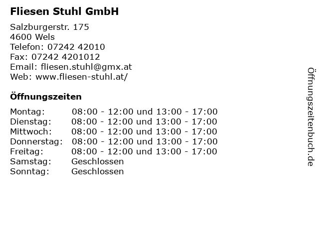 Fliesen Stuhl GmbH in Wels: Adresse und Öffnungszeiten