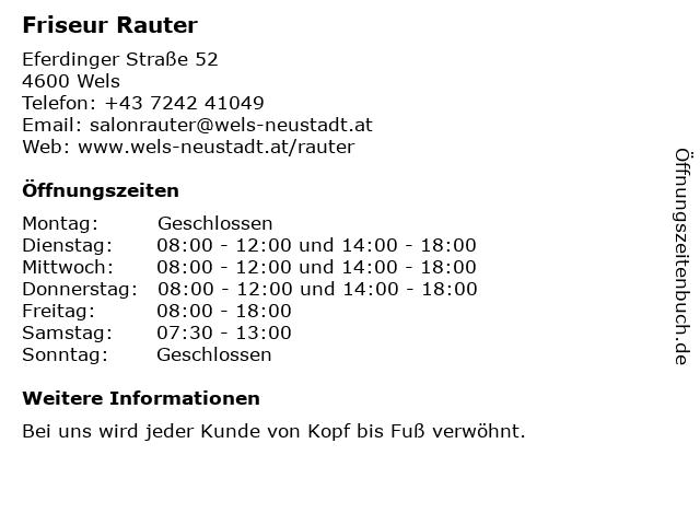 Friseur Rauter in Wels: Adresse und Öffnungszeiten