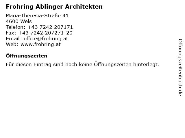Frohring Ablinger Architekten in Wels: Adresse und Öffnungszeiten