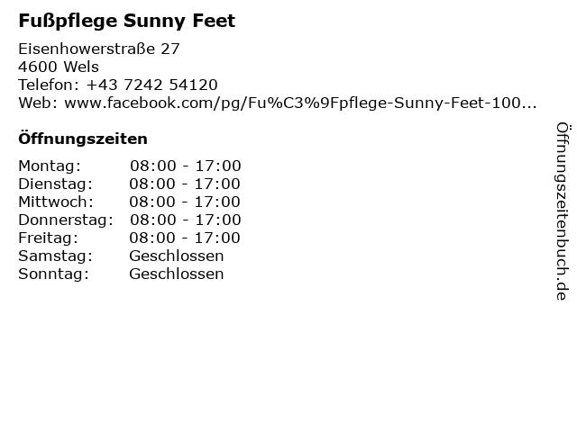 Fußpflege Sunny Feet in Wels: Adresse und Öffnungszeiten