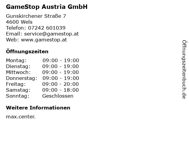 GameStop Austria GmbH in Wels: Adresse und Öffnungszeiten