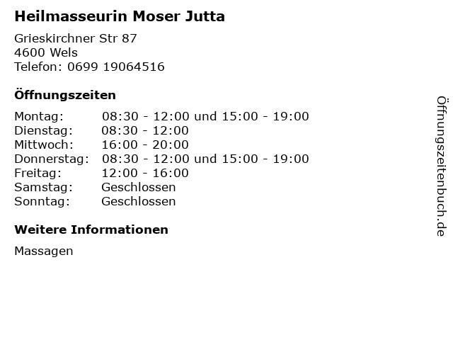 Heilmasseurin Moser Jutta in Wels: Adresse und Öffnungszeiten