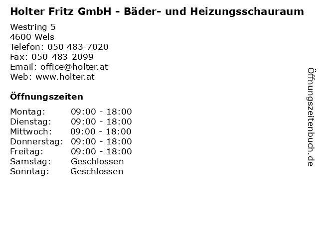 Holter Fritz GmbH - Bäder- und Heizungsschauraum in Wels: Adresse und Öffnungszeiten