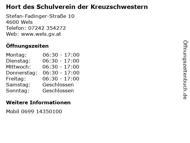 Hort des Schulverein der Kreuzschwestern in Wels: Adresse und Öffnungszeiten