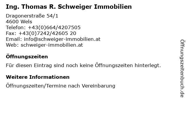 Ing. Thomas R. Schweiger Immobilien in Wels: Adresse und Öffnungszeiten