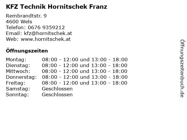 KFZ Technik Hornitschek Franz in Wels: Adresse und Öffnungszeiten