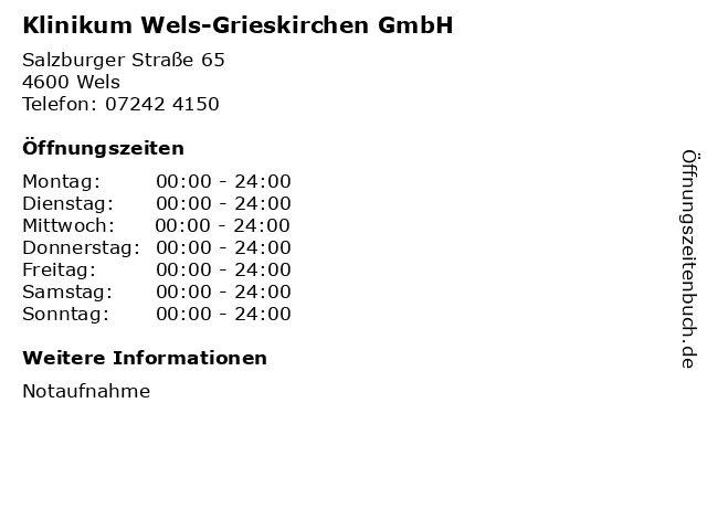 Klinikum Wels-Grieskirchen GmbH in Wels: Adresse und Öffnungszeiten