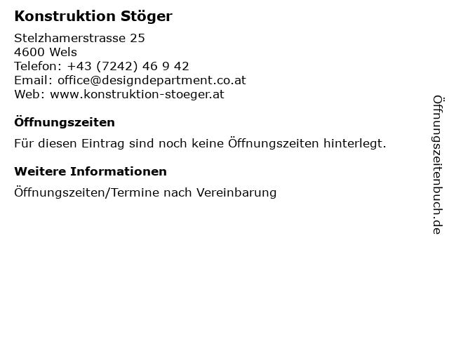Konstruktion Stöger in Wels: Adresse und Öffnungszeiten